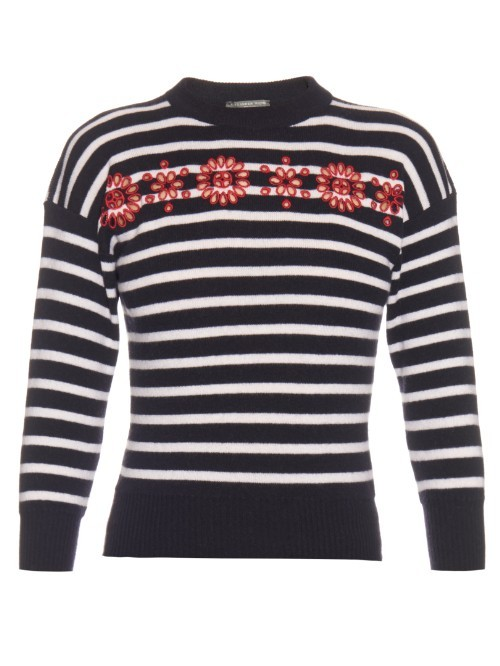 Cut Out Embroidered Floral Striped Sweater - pattern: horizontal stripes; style: standard; secondary colour: white; predominant colour: black; occasions: casual; length: standard; fibres: wool - 100%; fit: slim fit; neckline: crew; sleeve length: long sleeve; sleeve style: standard; texture group: knits/crochet; pattern type: fabric; pattern size: light/subtle; multicoloured: multicoloured; season: s/s 2016; wardrobe: highlight