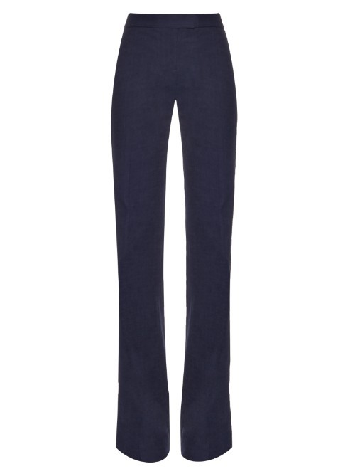 Nicola Trousers - length: standard; pattern: plain; waist: high rise; predominant colour: navy; occasions: work; fibres: cotton - stretch; fit: flares; pattern type: fabric; texture group: other - light to midweight; style: standard; season: s/s 2016; wardrobe: basic