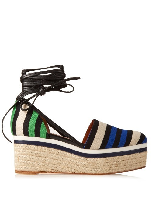 Striped Canvas Espadrille Wedge Sandals - predominant colour: royal blue; secondary colour: black; occasions: casual, creative work; material: fabric; heel height: high; ankle detail: ankle tie; heel: wedge; toe: round toe; finish: plain; pattern: colourblock; shoe detail: platform; style: espadrilles; season: s/s 2016; wardrobe: highlight