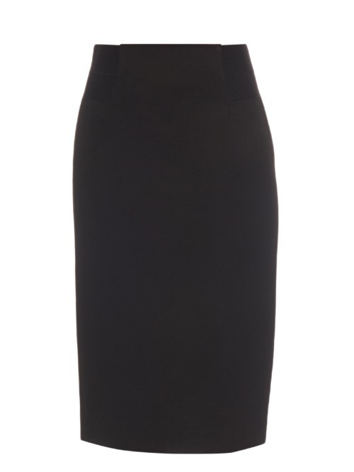 Geri Skirt - length: below the knee; pattern: plain; style: pencil; fit: tailored/fitted; waist: high rise; hip detail: fitted at hip; predominant colour: black; occasions: work, creative work; fibres: cotton - mix; texture group: crepes; pattern type: fabric; season: s/s 2016