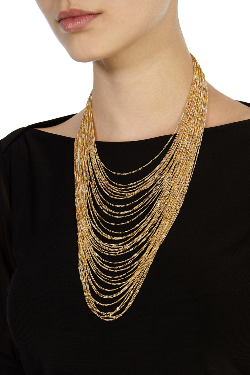 Carmela Multi Chain Necklace - predominant colour: gold; occasions: evening; style: multistrand; length: long; size: large/oversized; material: chain/metal; finish: metallic; season: s/s 2016; wardrobe: event