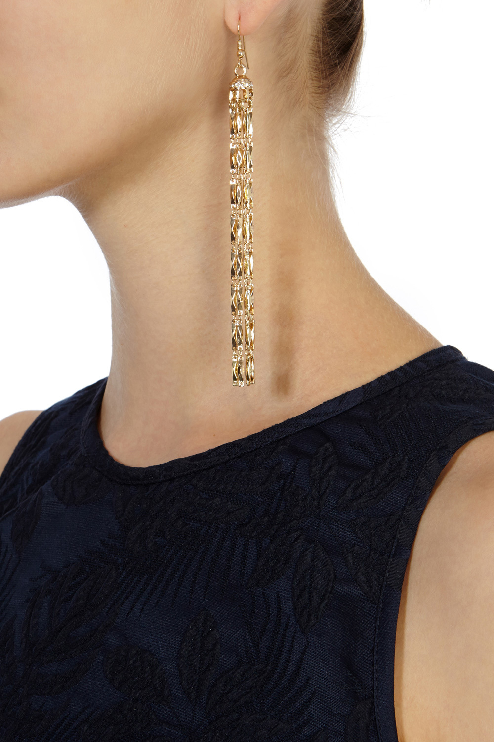 Chandelier Longline Earrings - predominant colour: gold; occasions: evening, occasion; style: chandelier; length: extra long; size: large/oversized; material: chain/metal; fastening: pierced; finish: metallic; embellishment: crystals/glass; season: s/s 2016; wardrobe: event