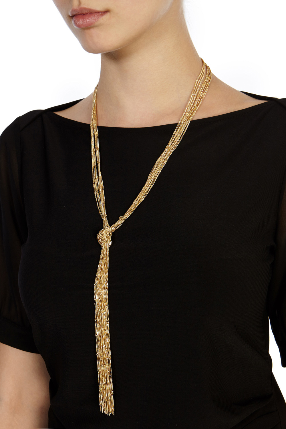 Carmela Longline Knot Necklace - predominant colour: gold; occasions: evening, occasion; style: pendant; length: long; size: standard; material: plastic/rubber; finish: metallic; season: s/s 2016; wardrobe: event