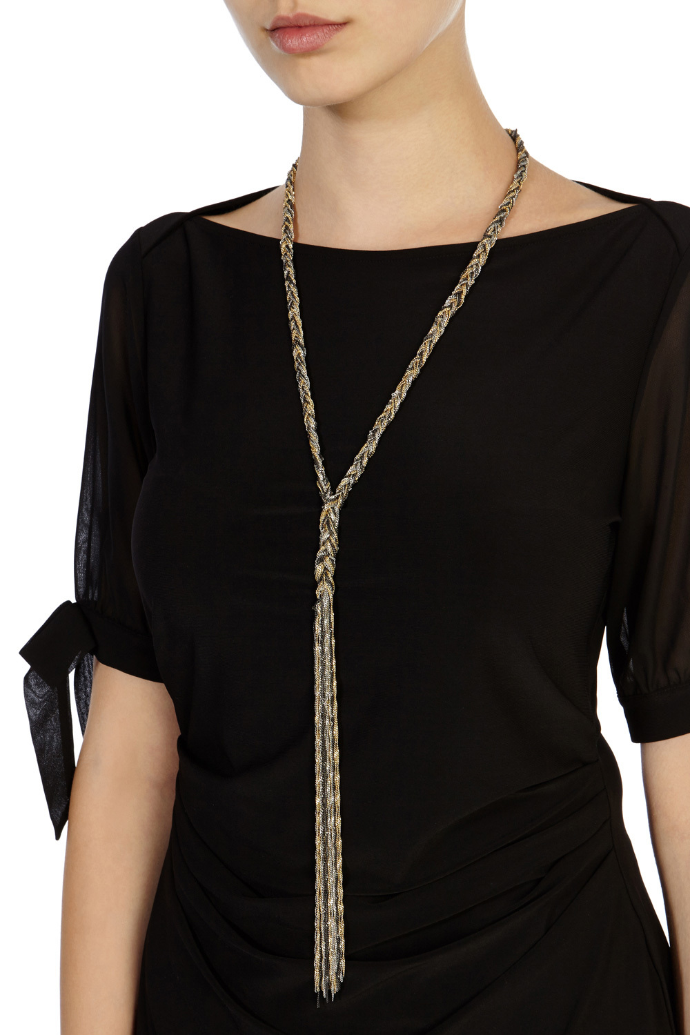 Evie Plated Longline Necklace - predominant colour: gold; occasions: evening, occasion; style: pendant; length: long; size: large/oversized; material: chain/metal; finish: metallic; season: s/s 2016; wardrobe: event