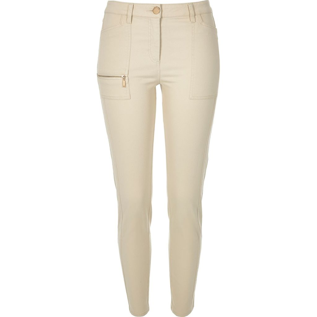 Womens Beige Twill Zip Skinny Trousers - length: standard; pattern: plain; waist: mid/regular rise; predominant colour: stone; occasions: casual; fibres: cotton - 100%; texture group: cotton feel fabrics; fit: skinny/tight leg; pattern type: fabric; style: standard; embellishment: zips; season: s/s 2016; wardrobe: highlight
