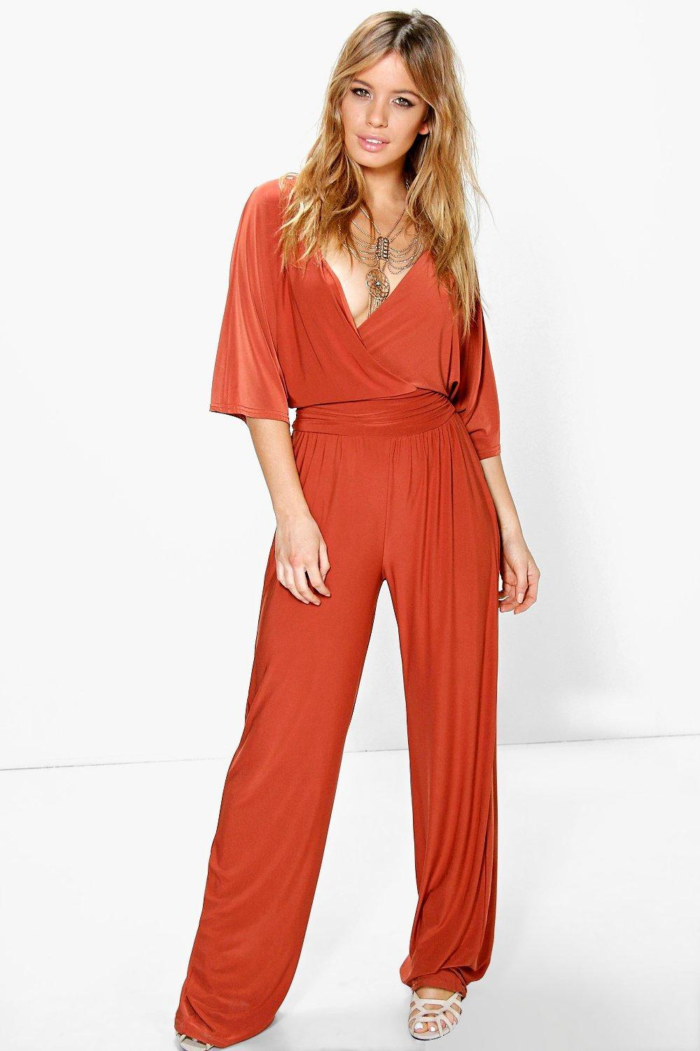 Elle Wrap Front Wide Leg Jumpsuit Mocha - length: standard; neckline: low v-neck; pattern: plain; predominant colour: bright orange; occasions: evening; fit: body skimming; fibres: polyester/polyamide - stretch; sleeve length: half sleeve; sleeve style: standard; style: jumpsuit; pattern type: fabric; texture group: jersey - stretchy/drapey; season: s/s 2016; wardrobe: event
