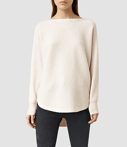 Esia Merino Jumper - neckline: slash/boat neckline; pattern: plain; style: standard; predominant colour: ivory/cream; occasions: casual, creative work; length: standard; fibres: wool - 100%; fit: loose; back detail: longer hem at back than at front; sleeve length: long sleeve; sleeve style: standard; texture group: knits/crochet; pattern type: knitted - fine stitch; season: s/s 2016; wardrobe: basic