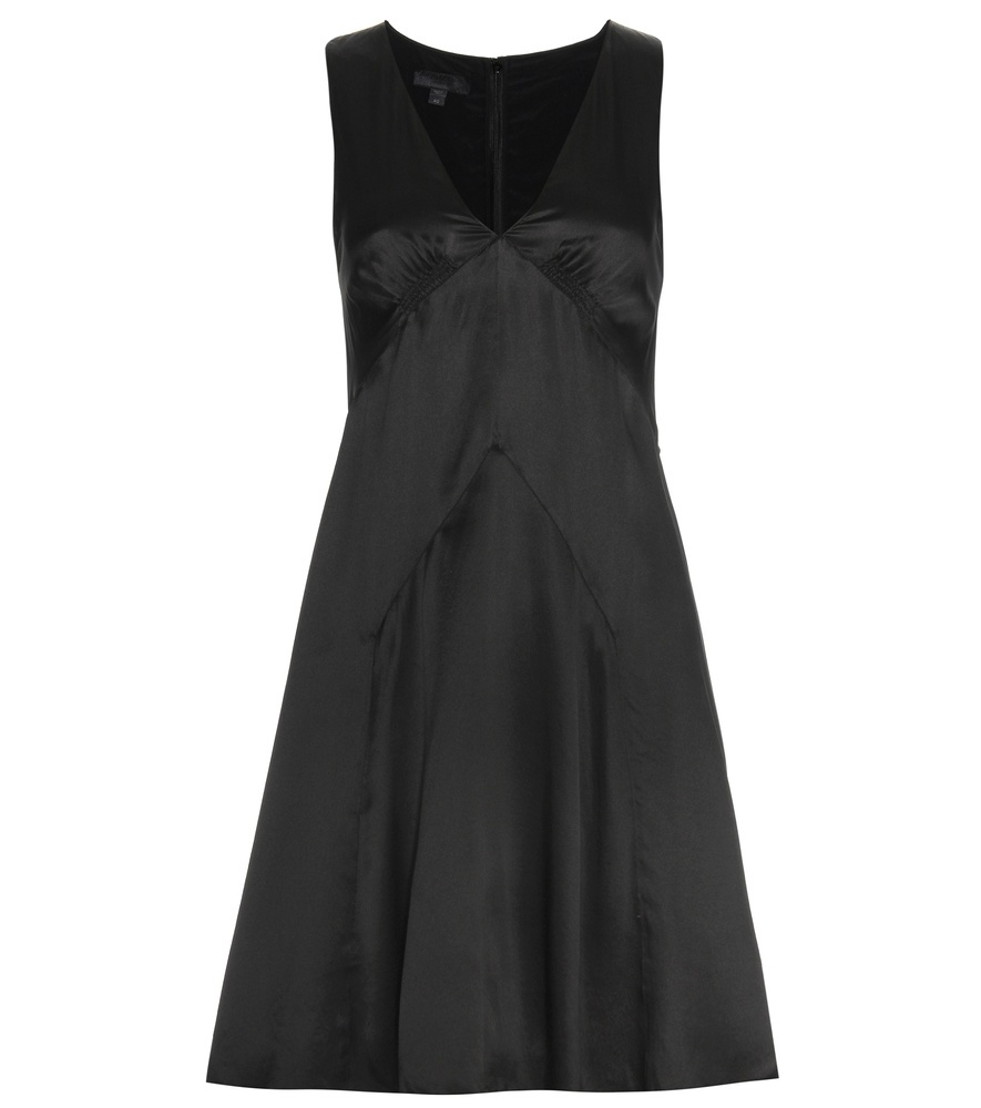 Silk Dress - neckline: low v-neck; pattern: plain; sleeve style: sleeveless; predominant colour: black; occasions: evening, creative work; length: just above the knee; fit: soft a-line; style: slip dress; fibres: silk - 100%; sleeve length: sleeveless; texture group: silky - light; pattern type: fabric; season: s/s 2016; trends: silky slips; wardrobe: highlight