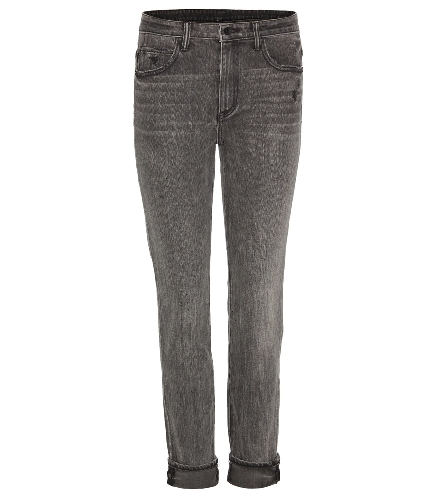 Ankle Skinny Cropped Jeans - style: skinny leg; pattern: plain; pocket detail: traditional 5 pocket; waist: mid/regular rise; predominant colour: mid grey; occasions: casual; length: ankle length; fibres: cotton - stretch; jeans detail: whiskering; jeans & bottoms detail: turn ups; texture group: denim; pattern type: fabric; season: s/s 2016