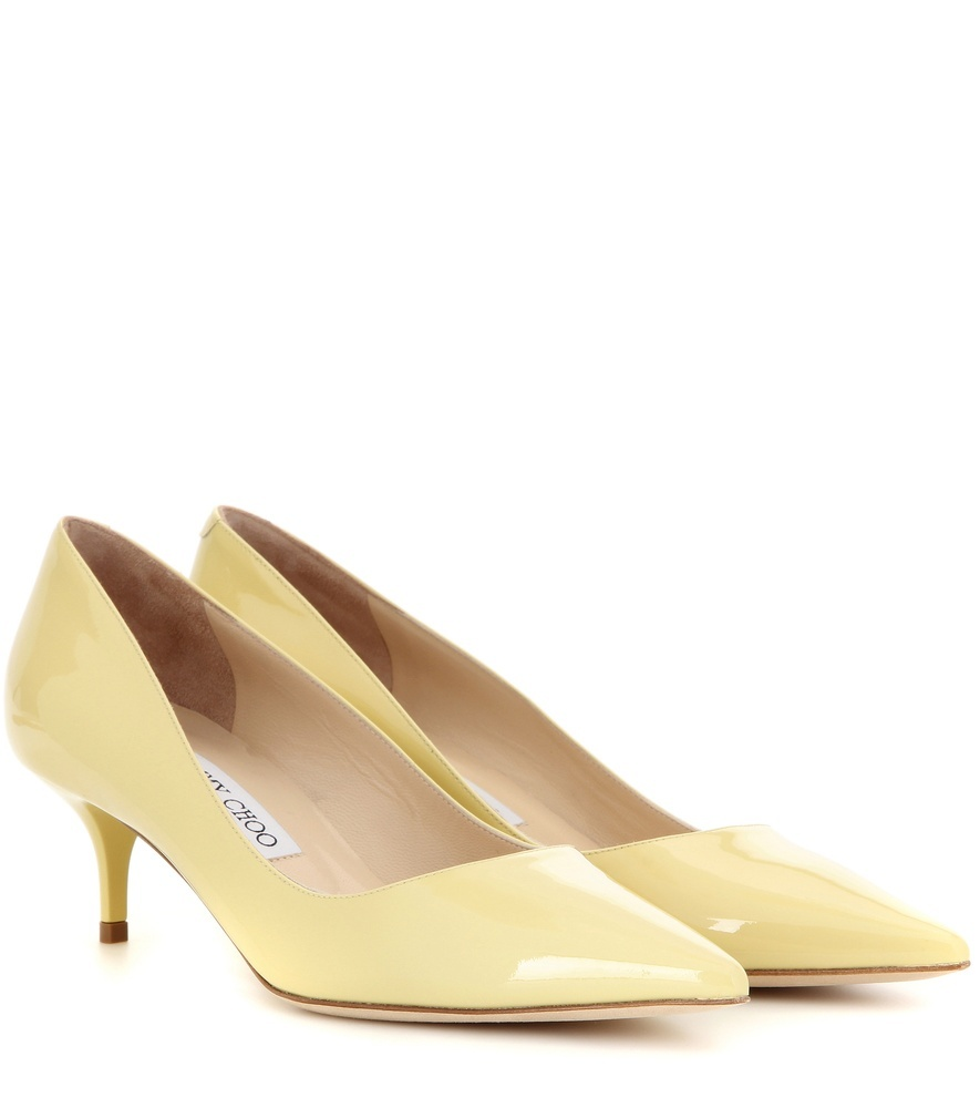 Aza Patent Leather Pumps - predominant colour: primrose yellow; occasions: evening; material: leather; heel height: mid; heel: stiletto; toe: pointed toe; style: courts; finish: patent; pattern: plain; season: s/s 2016; wardrobe: event
