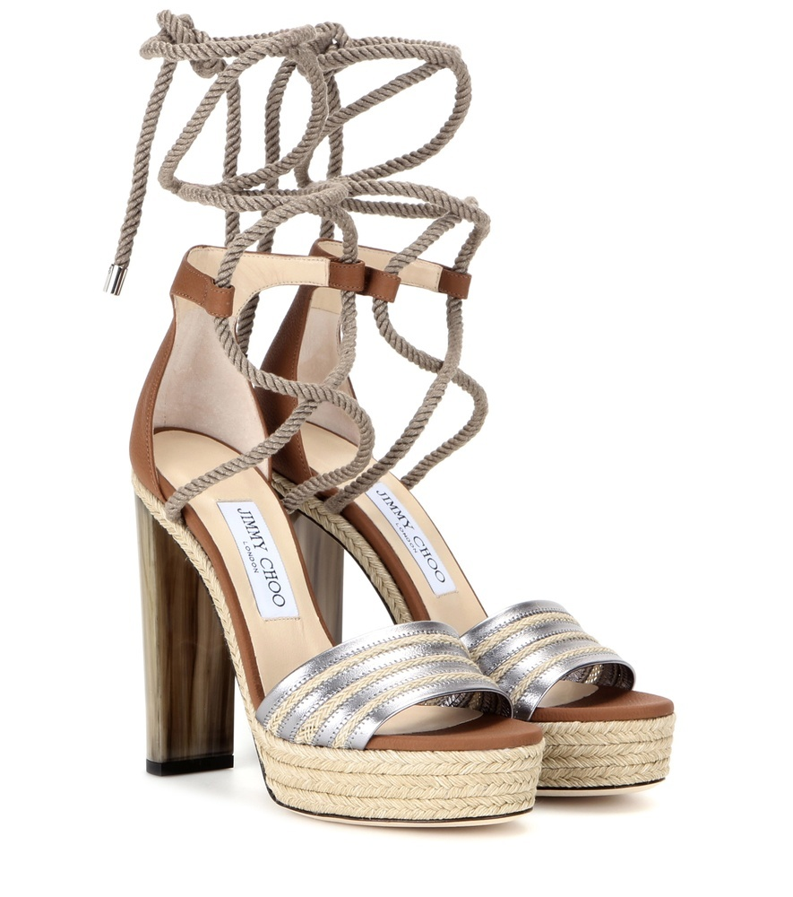 Mayje 130 Leather Sandals - secondary colour: camel; predominant colour: silver; occasions: evening, occasion; material: animal skin; heel height: high; ankle detail: ankle strap; heel: block; toe: open toe/peeptoe; style: strappy; finish: metallic; pattern: plain; shoe detail: platform; season: s/s 2016; wardrobe: event