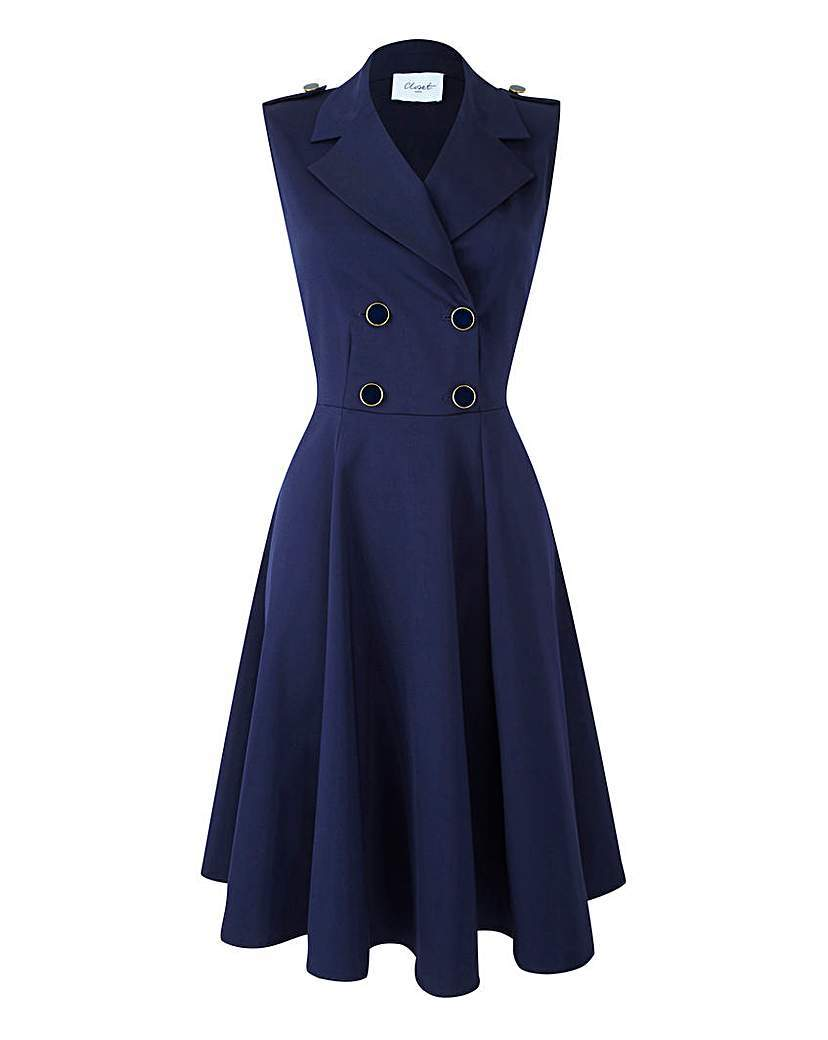 Button Wrap Dress - style: faux wrap/wrap; neckline: shirt collar/peter pan/zip with opening; pattern: plain; sleeve style: sleeveless; shoulder detail: obvious epaulette; predominant colour: navy; occasions: evening, creative work; length: on the knee; fit: fitted at waist & bust; fibres: cotton - stretch; hip detail: subtle/flattering hip detail; sleeve length: sleeveless; texture group: cotton feel fabrics; pattern type: fabric; season: s/s 2016; wardrobe: investment