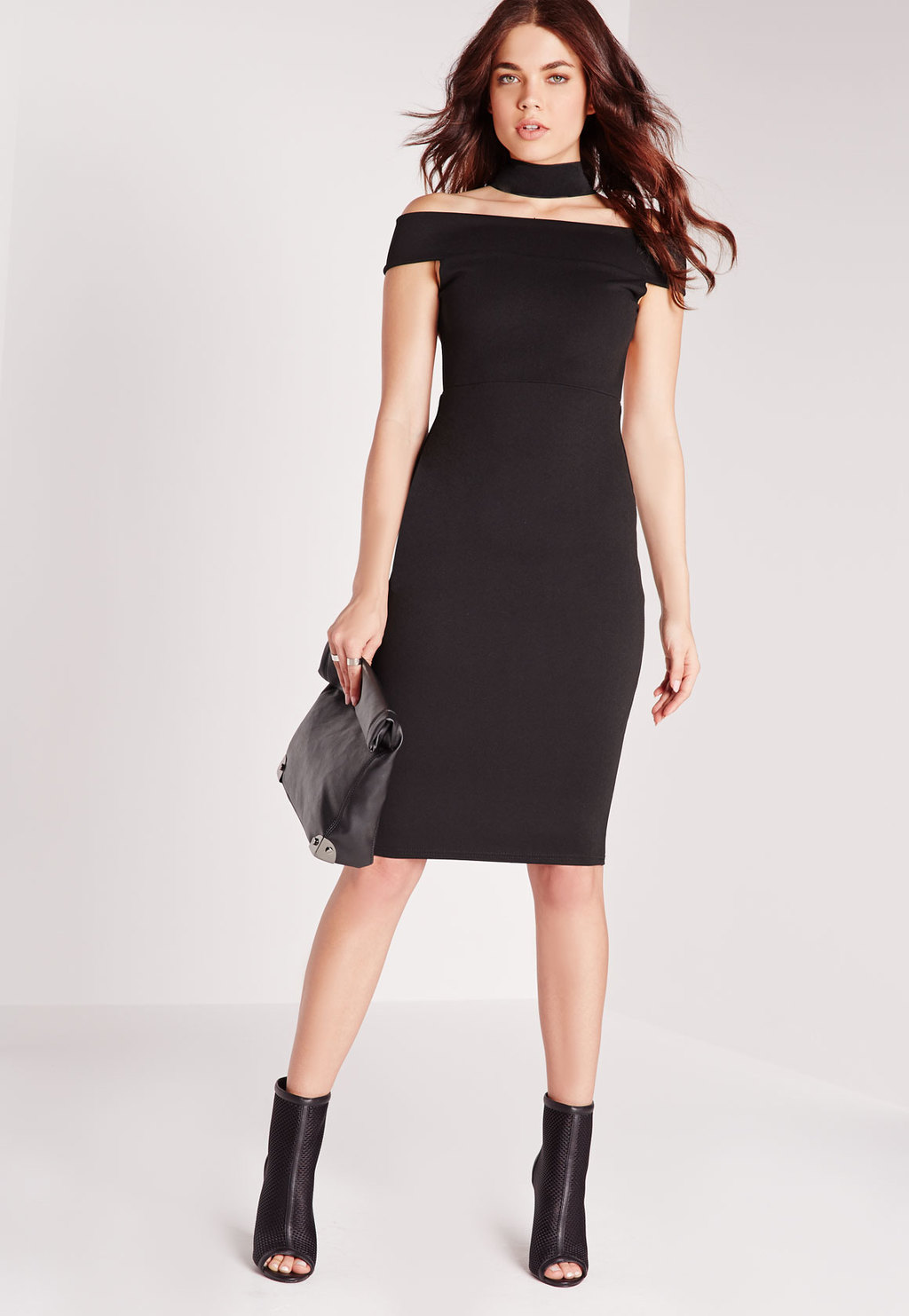 Elastic Neck Strap Detail Bodycon Dress Black, Black - neckline: off the shoulder; sleeve style: capped; fit: tight; pattern: plain; style: bodycon; hip detail: fitted at hip; predominant colour: black; occasions: evening; length: on the knee; fibres: polyester/polyamide - stretch; sleeve length: short sleeve; texture group: jersey - clingy; pattern type: fabric; season: s/s 2016