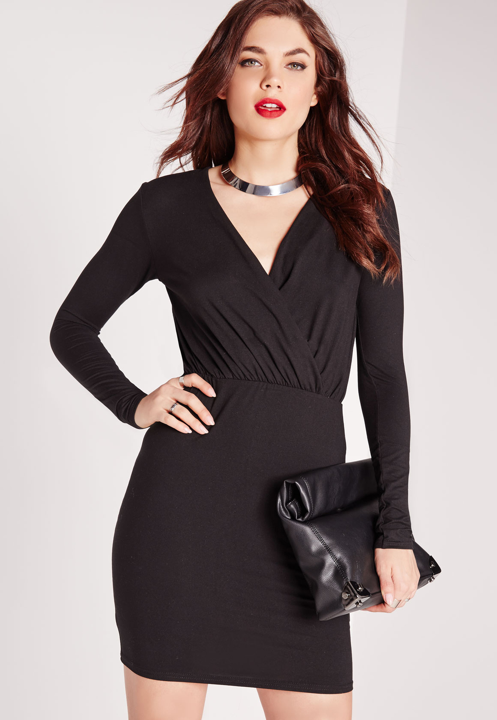 Plunge Wrap Over Bodycon Dress Black, Black - length: mini; neckline: v-neck; pattern: plain; style: bodycon; hip detail: draws attention to hips; bust detail: subtle bust detail; predominant colour: black; occasions: evening, occasion; fit: body skimming; fibres: polyester/polyamide - stretch; sleeve length: long sleeve; sleeve style: standard; texture group: jersey - clingy; pattern type: fabric; season: s/s 2016; wardrobe: event