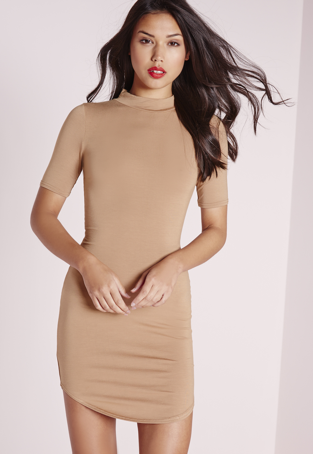 Short Sleeve Curve Hem Bodycon Dress Camel, Brown - length: mid thigh; fit: tight; pattern: plain; neckline: high neck; style: bodycon; predominant colour: camel; occasions: evening; fibres: viscose/rayon - stretch; sleeve length: short sleeve; sleeve style: standard; texture group: jersey - clingy; pattern type: fabric; season: s/s 2016; wardrobe: event