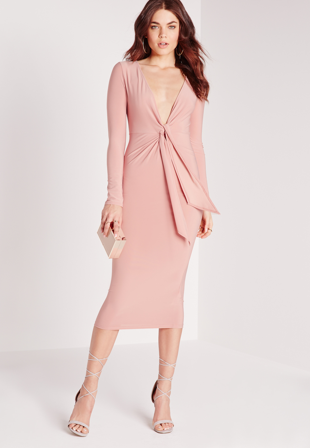 Knot Front Midi Dress Pink, Pink - length: below the knee; neckline: low v-neck; fit: tight; pattern: plain; style: bodycon; waist detail: belted waist/tie at waist/drawstring; predominant colour: blush; occasions: evening; fibres: polyester/polyamide - stretch; sleeve length: long sleeve; sleeve style: standard; texture group: jersey - clingy; pattern type: fabric; season: s/s 2016; wardrobe: event