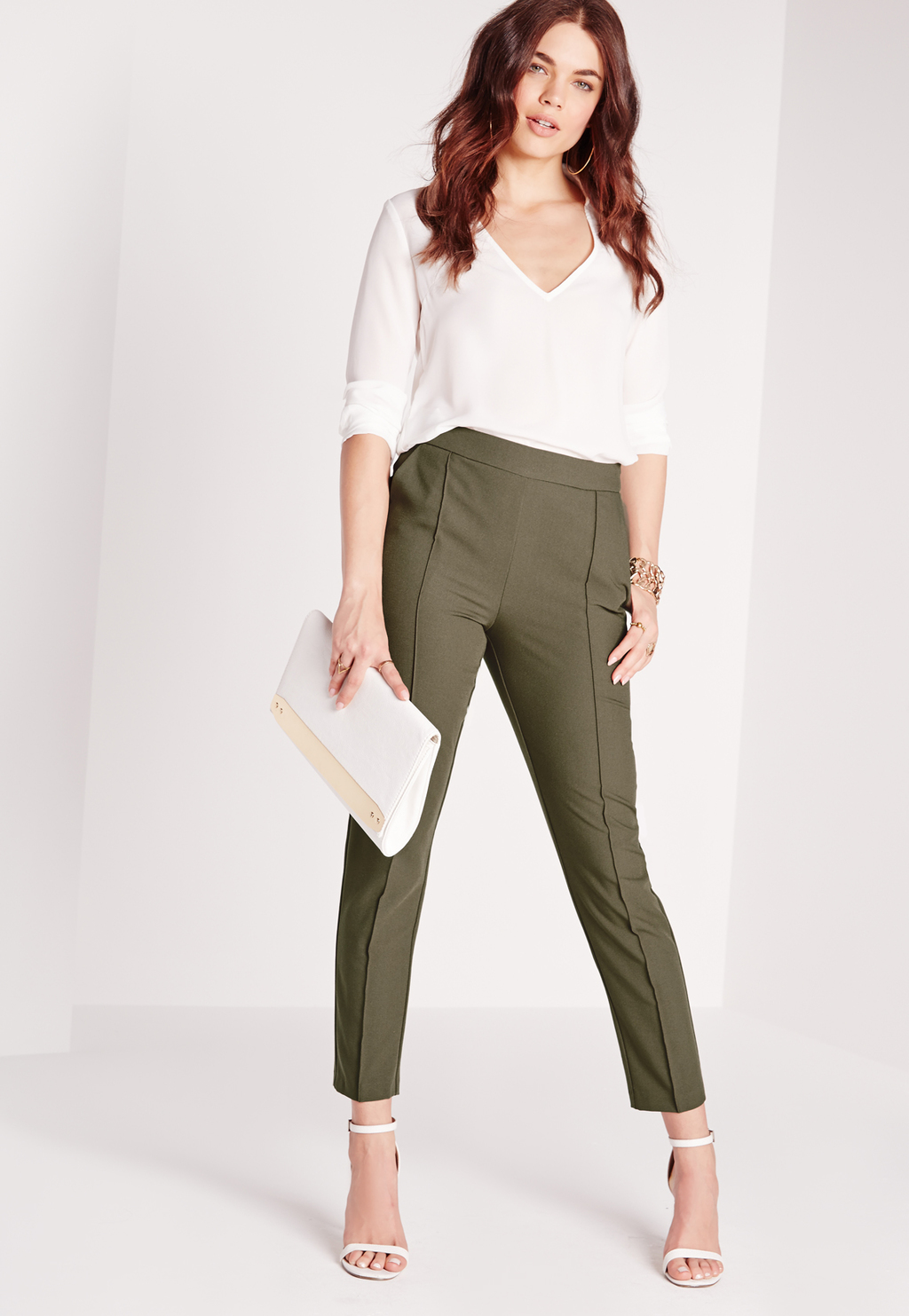 Pintuck Detail Cigarette Trousers Khaki, Beige - pattern: plain; waist: high rise; hip detail: draws attention to hips; predominant colour: khaki; length: ankle length; fibres: polyester/polyamide - 100%; fit: slim leg; pattern type: fabric; texture group: other - light to midweight; style: standard; occasions: creative work; season: s/s 2016; wardrobe: basic