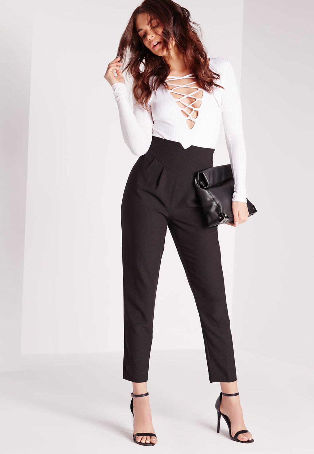 Super High Waist Notch Cigarette Trousers Black, Black - pattern: plain; waist: high rise; hip detail: draws attention to hips; predominant colour: black; length: ankle length; fibres: polyester/polyamide - 100%; fit: tapered; pattern type: fabric; texture group: other - light to midweight; style: standard; occasions: creative work; season: s/s 2016; wardrobe: basic