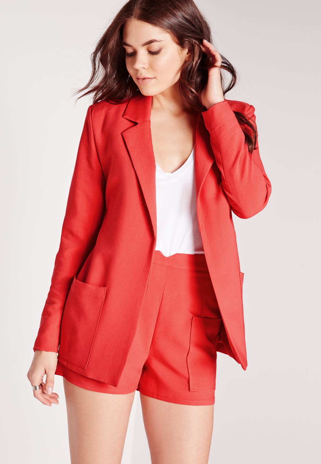 Boyfriend Suit Blazer Red, Red - pattern: plain; style: single breasted blazer; collar: standard lapel/rever collar; predominant colour: true red; length: standard; fit: tailored/fitted; fibres: polyester/polyamide - 100%; occasions: occasion, creative work; sleeve length: long sleeve; sleeve style: standard; texture group: crepes; collar break: low/open; pattern type: fabric; season: s/s 2016; wardrobe: investment
