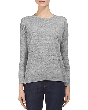 Ribbed Trim Tee - neckline: round neck; pattern: plain; style: t-shirt; predominant colour: mid grey; occasions: casual, creative work; length: standard; fibres: cotton - 100%; fit: loose; sleeve length: long sleeve; sleeve style: standard; pattern type: fabric; texture group: jersey - stretchy/drapey; season: s/s 2016; wardrobe: basic