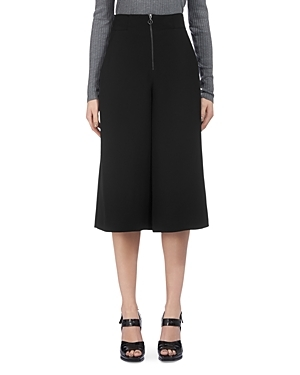 Bella Zip Front Culottes - pattern: plain; waist: high rise; predominant colour: black; occasions: casual, work, creative work; fibres: viscose/rayon - 100%; pattern type: fabric; texture group: woven light midweight; season: s/s 2016; wardrobe: basic; style: culotte; length: below the knee; fit: a-line