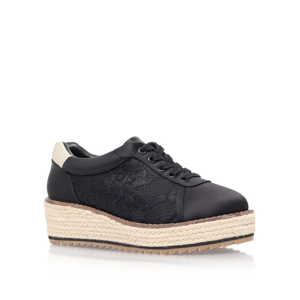Lush Flat Platform Lace Up Shoes, Black - predominant colour: black; occasions: casual; material: faux leather; heel height: flat; toe: round toe; style: trainers; finish: plain; pattern: plain; shoe detail: platform with tread; season: s/s 2016