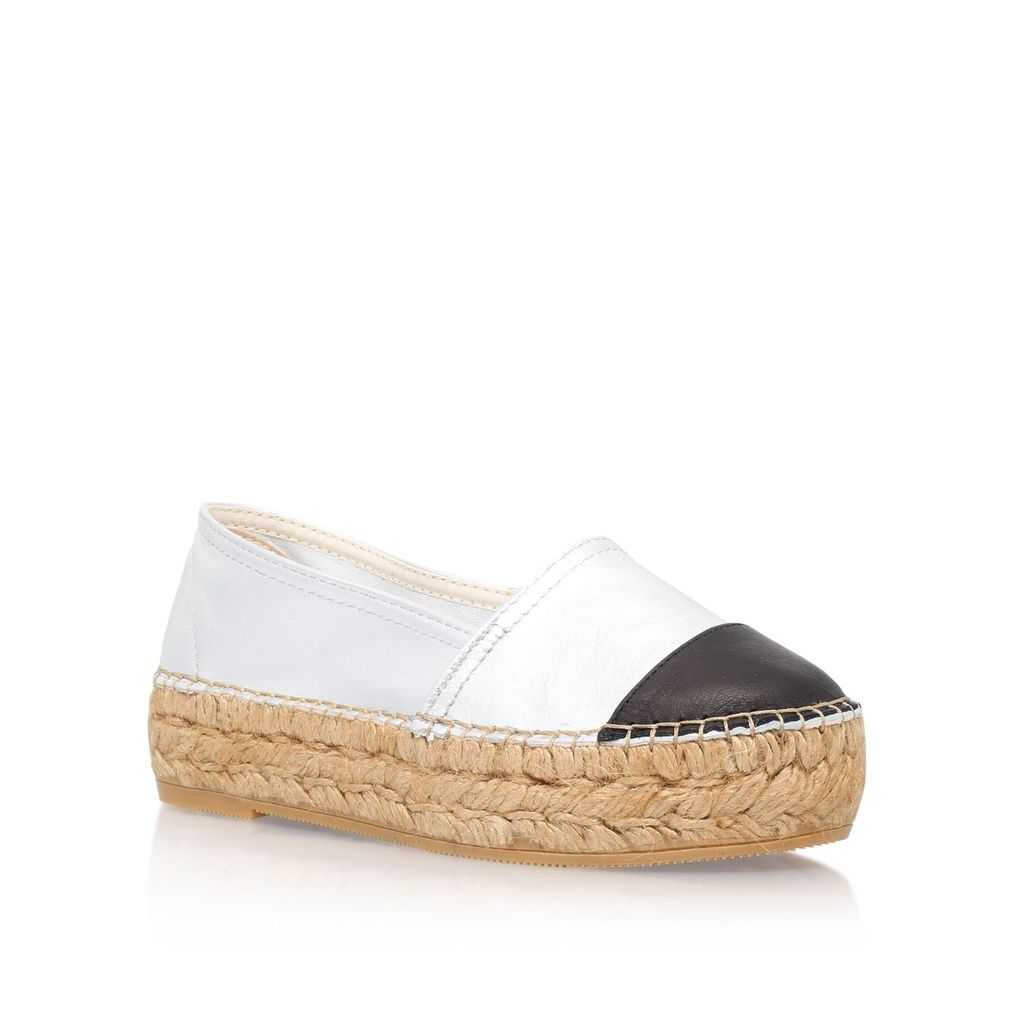 Mellow Espadrille Pumps, Silver - predominant colour: white; secondary colour: black; occasions: casual, holiday; material: leather; heel height: flat; toe: round toe; finish: plain; pattern: colourblock; style: espadrilles; shoe detail: platform; season: s/s 2016; wardrobe: highlight