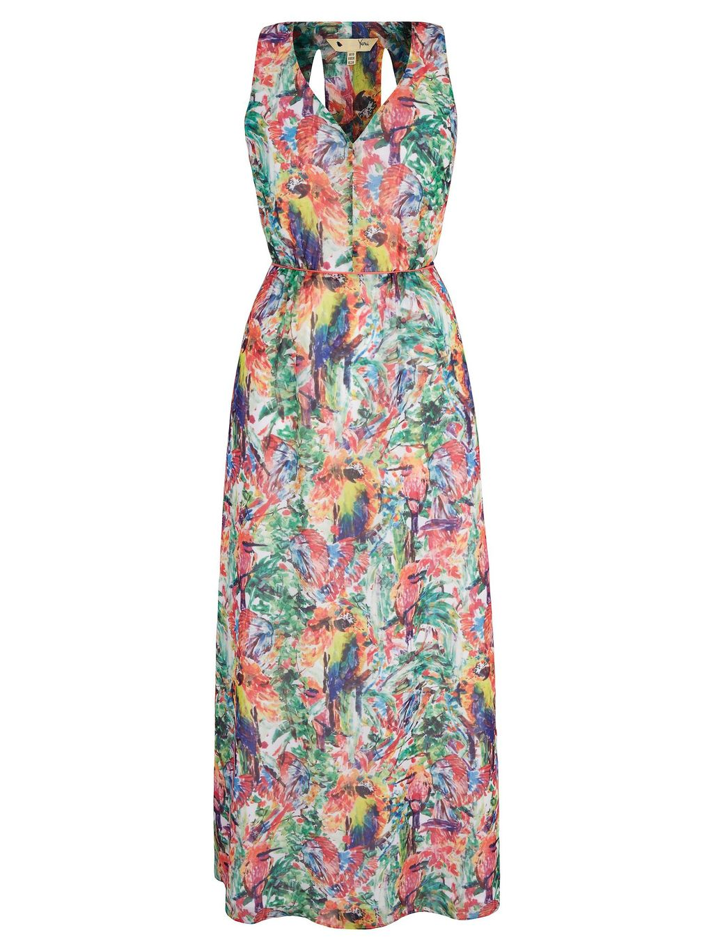 Tropical Parrot Print Maxi Dress, Multi Coloured - neckline: low v-neck; fit: fitted at waist; sleeve style: sleeveless; style: maxi dress; length: ankle length; waist detail: fitted waist; secondary colour: pink; predominant colour: turquoise; fibres: polyester/polyamide - 100%; occasions: occasion; sleeve length: sleeveless; pattern type: fabric; pattern: florals; texture group: other - light to midweight; multicoloured: multicoloured; season: s/s 2016; wardrobe: event