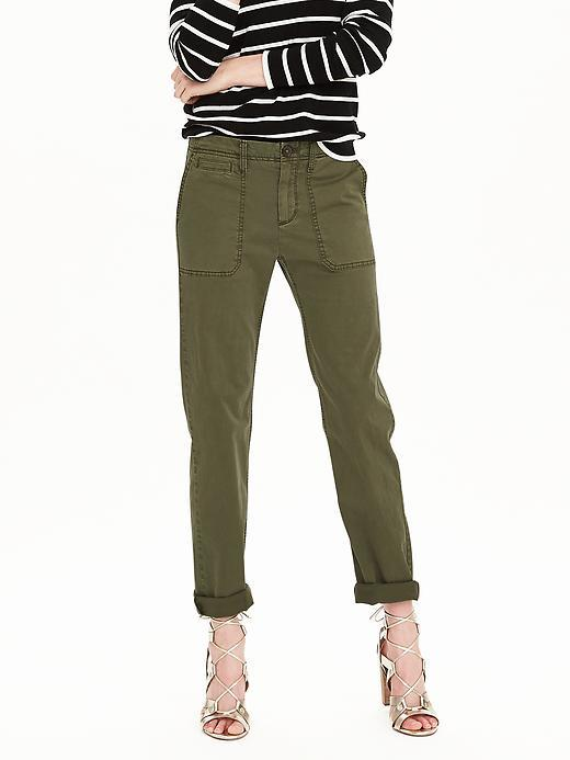 Boyfriend Chino Crop Iguana Green - pattern: plain; waist: mid/regular rise; predominant colour: khaki; occasions: casual, creative work; length: ankle length; style: chino; fibres: cotton - stretch; jeans & bottoms detail: turn ups; fit: straight leg; pattern type: fabric; texture group: other - light to midweight; season: s/s 2016