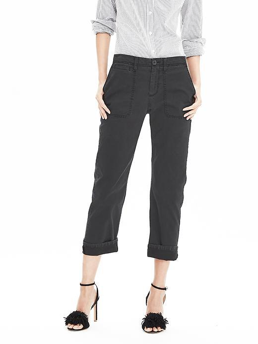 Boyfriend Chino Crop Black - pattern: plain; waist: mid/regular rise; predominant colour: black; occasions: casual, creative work; length: ankle length; style: chino; fibres: cotton - stretch; jeans & bottoms detail: turn ups; fit: straight leg; pattern type: fabric; texture group: other - light to midweight; season: s/s 2016; wardrobe: basic