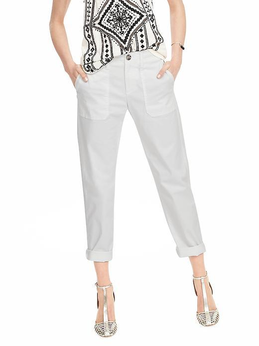 Boyfriend Chino Crop White - pattern: plain; waist: mid/regular rise; predominant colour: white; occasions: casual, holiday; length: ankle length; fibres: cotton - stretch; texture group: cotton feel fabrics; fit: straight leg; pattern type: fabric; style: standard; season: s/s 2016; wardrobe: basic