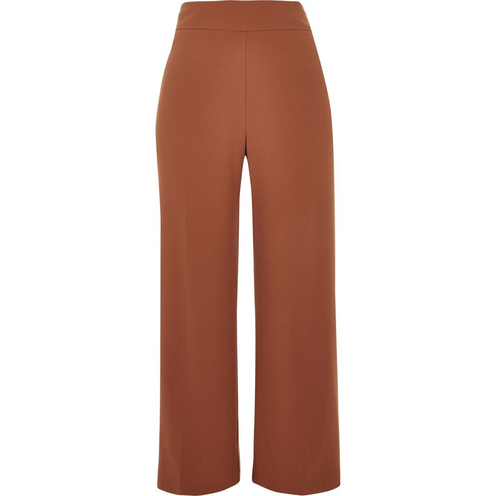 Womens Brown Cropped Wide Leg Trousers - pattern: plain; waist: mid/regular rise; predominant colour: chocolate brown; occasions: casual; length: calf length; fibres: polyester/polyamide - 100%; texture group: crepes; fit: wide leg; pattern type: fabric; style: standard; season: s/s 2016; wardrobe: basic