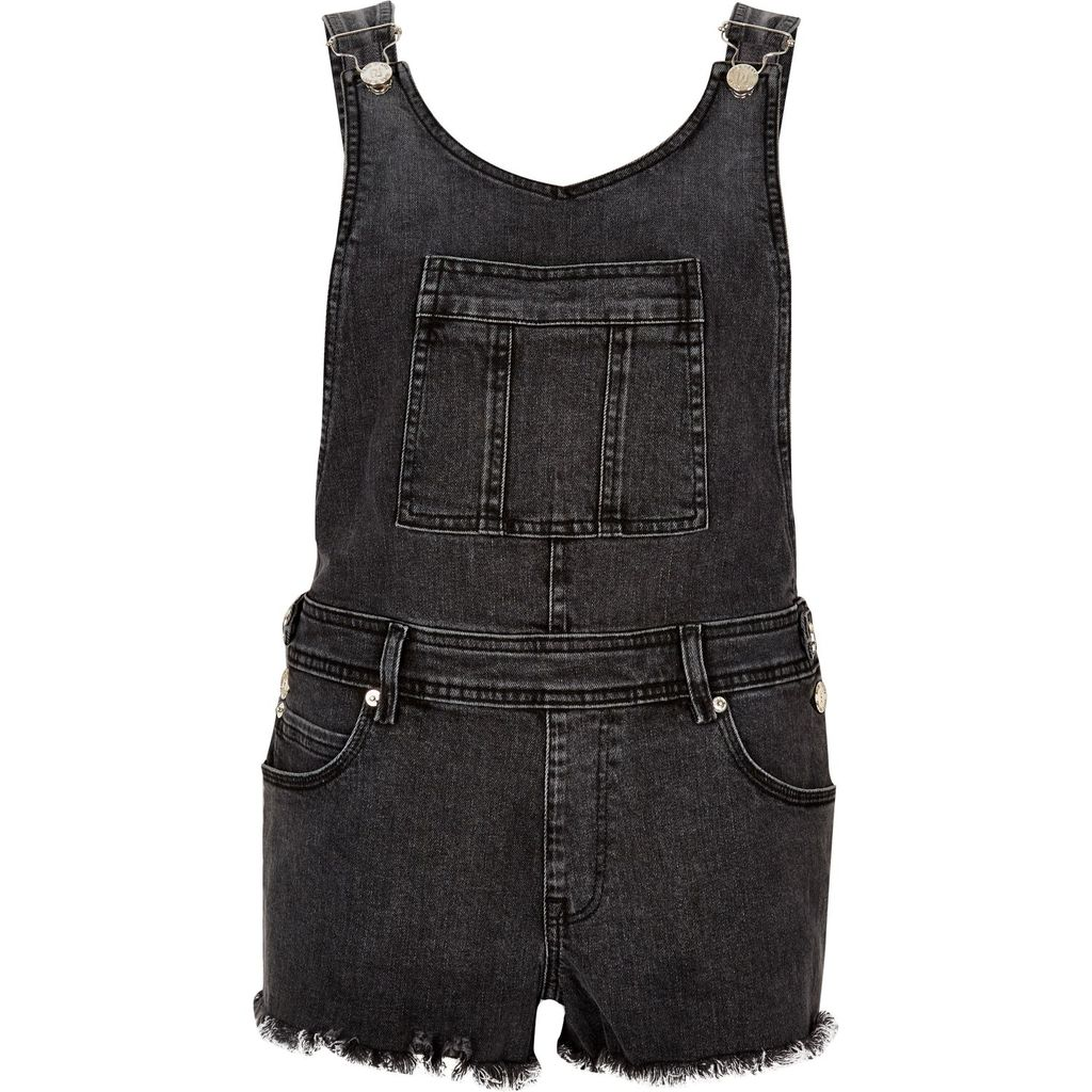 Womens Washed Black Raw Dungaree Shorts - neckline: round neck; pattern: plain; sleeve style: sleeveless; length: short shorts; predominant colour: black; occasions: casual; fit: body skimming; fibres: cotton - stretch; sleeve length: sleeveless; texture group: denim; style: playsuit; pattern type: fabric; season: s/s 2016; wardrobe: highlight