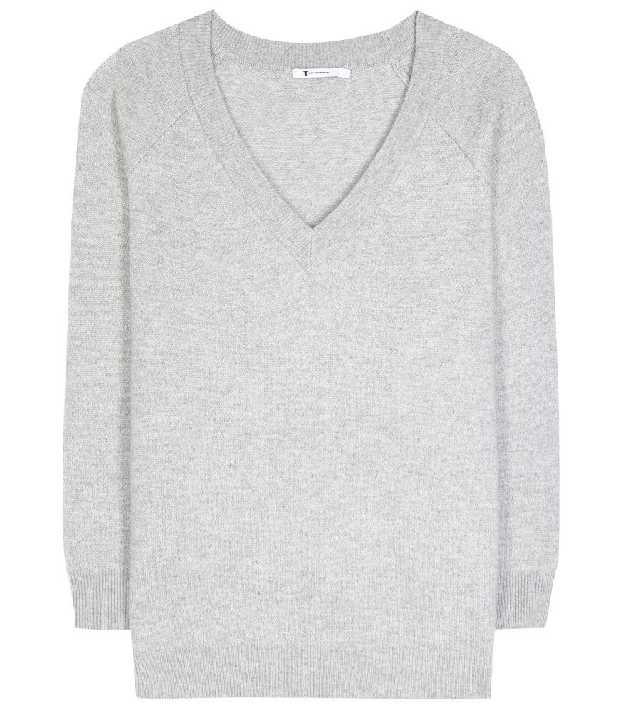 Wool And Cashmere Sweater - neckline: v-neck; pattern: plain; style: standard; predominant colour: light grey; occasions: casual, work, creative work; length: standard; fibres: wool - mix; fit: standard fit; sleeve length: long sleeve; sleeve style: standard; texture group: knits/crochet; pattern type: knitted - fine stitch; season: s/s 2016