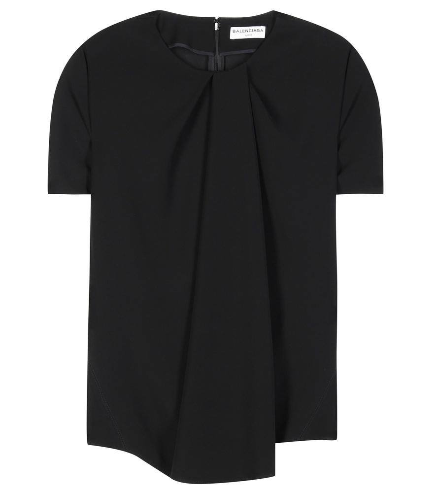Pleated Crêpe Top - pattern: plain; predominant colour: black; occasions: casual; length: standard; style: top; fibres: cotton - 100%; fit: body skimming; neckline: crew; sleeve length: short sleeve; sleeve style: standard; texture group: crepes; pattern type: fabric; season: s/s 2016; wardrobe: basic