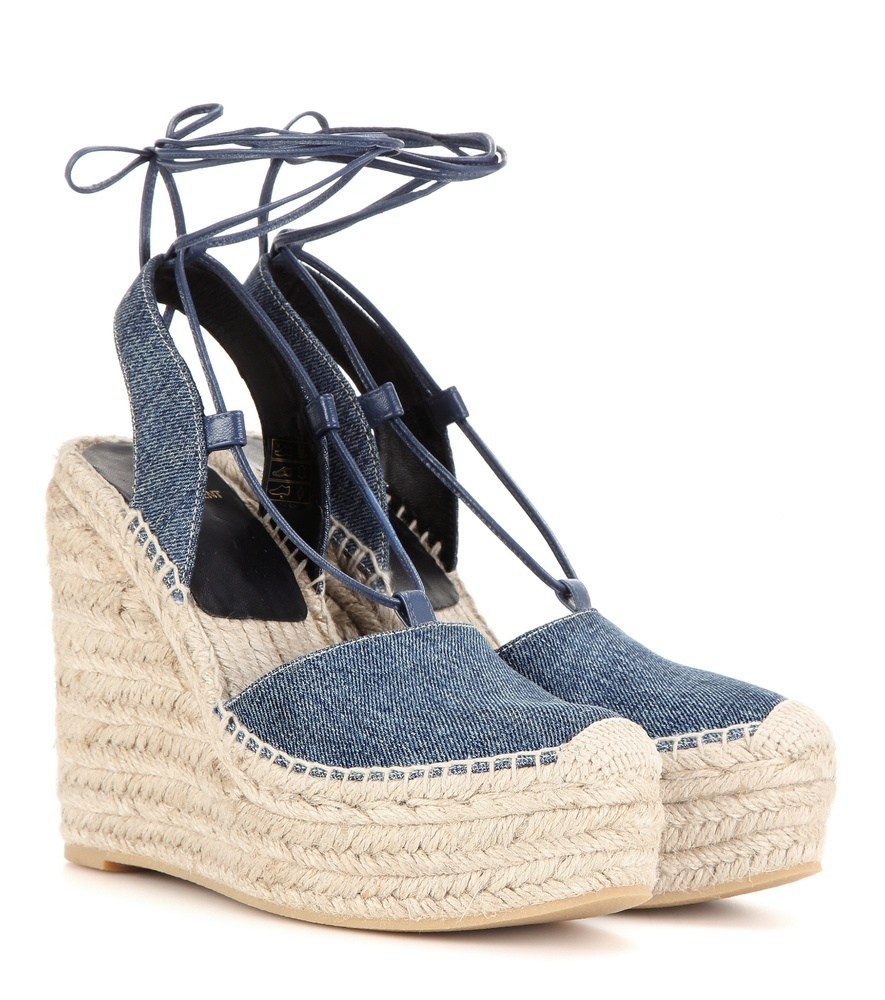 Denim Espadrille Wedge Sandals - predominant colour: denim; occasions: casual, holiday; material: fabric; ankle detail: ankle tie; heel: wedge; style: strappy; finish: plain; pattern: plain; heel height: very high; toe: caged; shoe detail: platform; season: s/s 2016; wardrobe: highlight