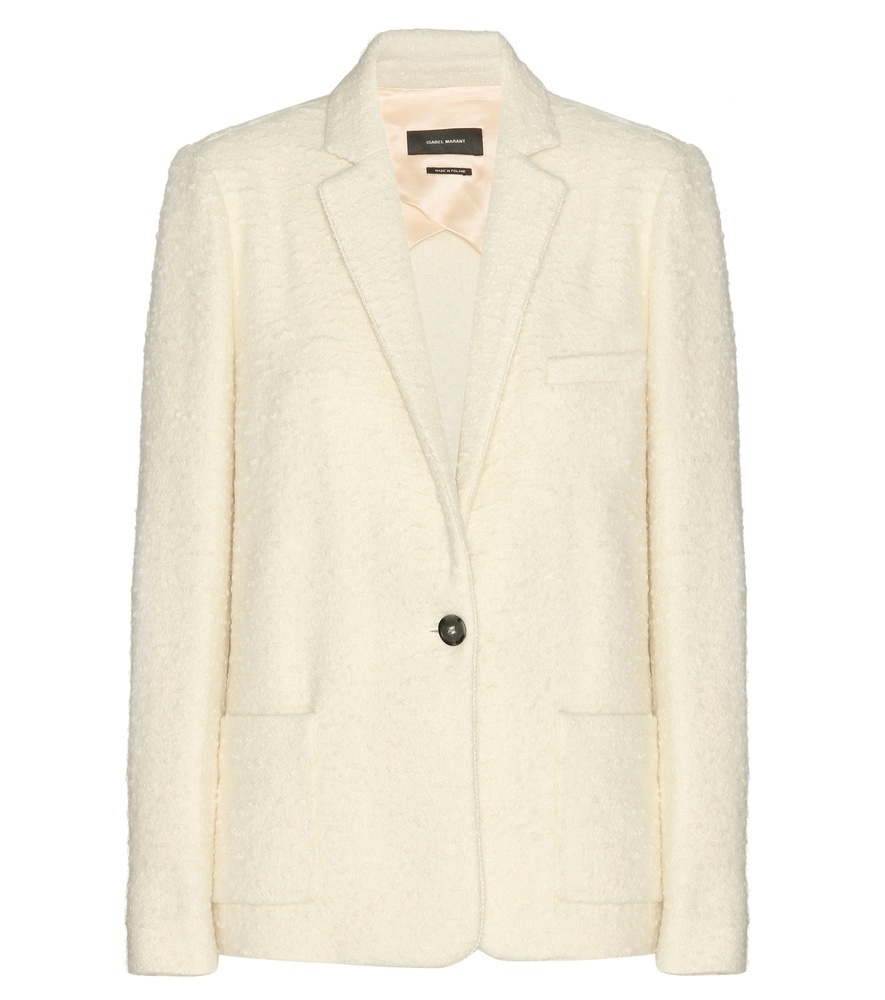 Faxon Bouclé Alpaca Wool Blazer - pattern: plain; style: single breasted blazer; collar: standard lapel/rever collar; predominant colour: ivory/cream; length: standard; fit: tailored/fitted; fibres: wool - 100%; occasions: occasion; sleeve length: long sleeve; sleeve style: standard; collar break: medium; pattern type: fabric; texture group: woven light midweight; season: s/s 2016; wardrobe: event