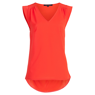 Polly Plains Capped Sleeve V Neck T Shirt - neckline: v-neck; sleeve style: capped; pattern: plain; predominant colour: true red; occasions: casual, creative work; length: standard; style: top; fibres: viscose/rayon - 100%; fit: body skimming; sleeve length: sleeveless; pattern type: fabric; texture group: jersey - stretchy/drapey; season: s/s 2016; wardrobe: highlight