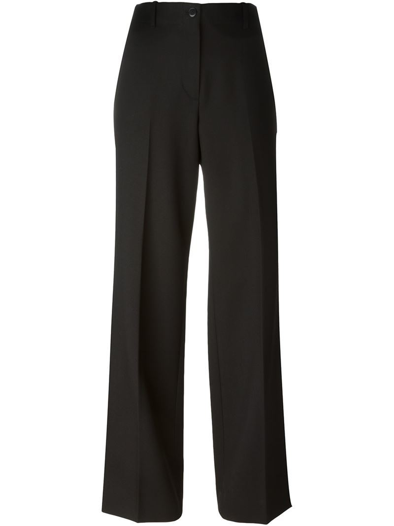 'sateen' Trousers, Women's, Black - length: standard; pattern: plain; waist: high rise; predominant colour: black; occasions: work; fibres: cotton - 100%; texture group: structured shiny - satin/tafetta/silk etc.; fit: wide leg; pattern type: fabric; style: standard; season: s/s 2016; wardrobe: basic