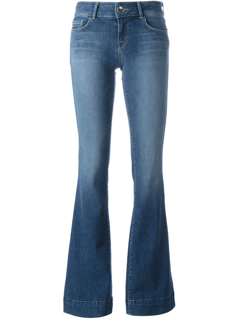 Flared Jeans, Women's, Blue - style: flares; length: standard; pattern: plain; pocket detail: traditional 5 pocket; waist: mid/regular rise; predominant colour: denim; occasions: casual; fibres: cotton - stretch; jeans detail: shading down centre of thigh; texture group: denim; pattern type: fabric; season: s/s 2016; wardrobe: basic