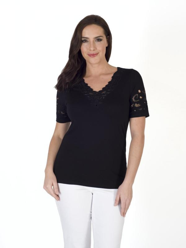 Black Embroidered Cutout V Neck T Shirt - neckline: v-neck; pattern: plain; style: t-shirt; predominant colour: black; occasions: casual; length: standard; fibres: viscose/rayon - stretch; fit: body skimming; sleeve length: short sleeve; sleeve style: standard; pattern type: fabric; texture group: jersey - stretchy/drapey; embellishment: embroidered; season: s/s 2016