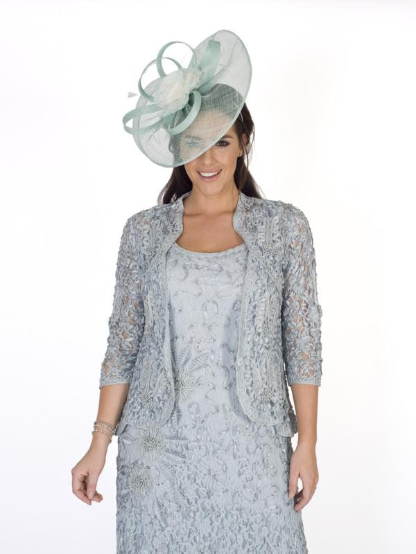 Aqua Cornelli Embroidered Lace Jacket - pattern: plain; style: bolero/shrug; collar: round collar/collarless; fit: slim fit; predominant colour: pale blue; length: standard; fibres: nylon - mix; occasions: occasion; sleeve length: 3/4 length; sleeve style: standard; collar break: low/open; pattern type: fabric; texture group: other - light to midweight; embellishment: lace; season: s/s 2016