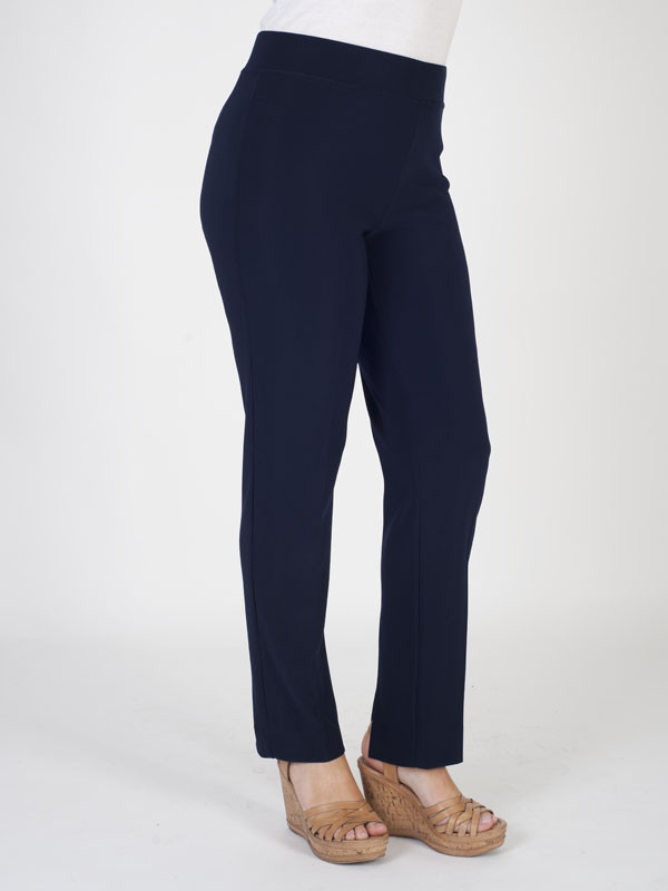 Joseph Ribkoff Midnight Blue Trouser - length: standard; pattern: plain; waist: mid/regular rise; predominant colour: navy; occasions: casual; fibres: polyester/polyamide - 100%; fit: bootcut; pattern type: fabric; texture group: woven light midweight; style: standard; season: s/s 2016