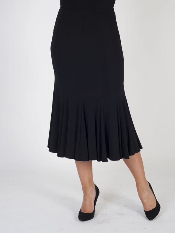 Joseph Ribkoff Black Jersey Panelled Skirt - length: calf length; pattern: plain; style: fishtail; fit: body skimming; waist detail: elasticated waist; waist: high rise; predominant colour: black; occasions: work, occasion; fibres: polyester/polyamide - stretch; pattern type: fabric; texture group: jersey - stretchy/drapey; season: s/s 2016