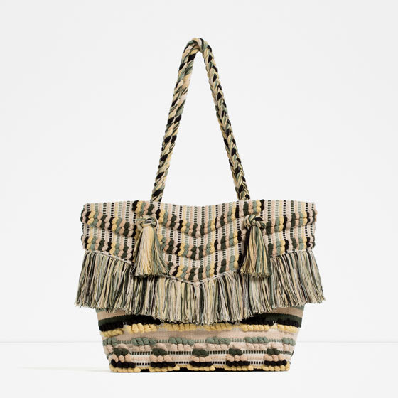 Fringed Tote - secondary colour: chocolate brown; predominant colour: stone; occasions: casual; type of pattern: standard; style: tote; length: shoulder (tucks under arm); size: standard; material: fabric; finish: plain; pattern: patterned/print; season: s/s 2016; wardrobe: highlight