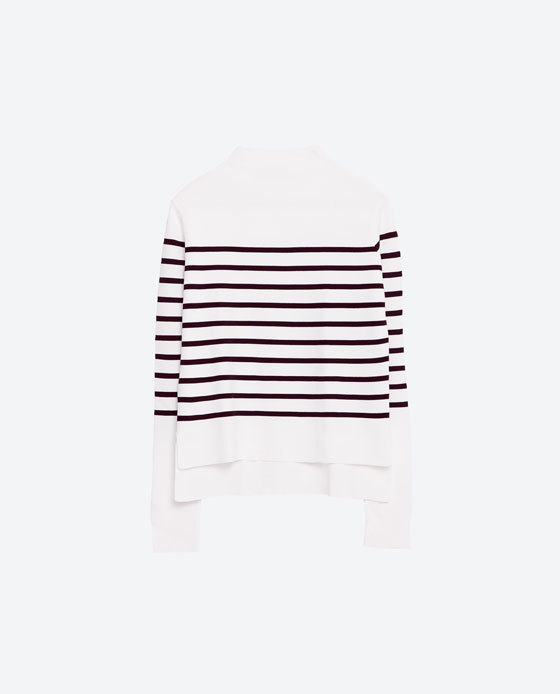 Striped Sweater - pattern: horizontal stripes; style: standard; secondary colour: white; predominant colour: black; occasions: casual, creative work; length: standard; fibres: polyester/polyamide - 100%; fit: standard fit; neckline: crew; sleeve length: long sleeve; sleeve style: standard; texture group: knits/crochet; pattern type: knitted - fine stitch; pattern size: standard; season: s/s 2016; wardrobe: highlight
