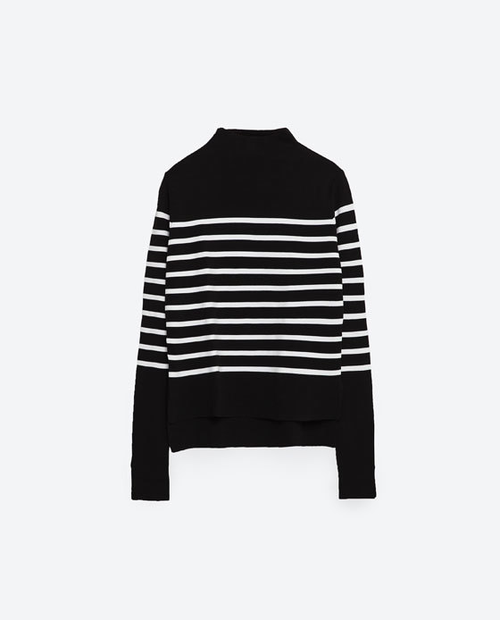 Striped Sweater - pattern: horizontal stripes; neckline: high neck; length: below the bottom; style: standard; secondary colour: white; predominant colour: black; occasions: casual, creative work; fibres: polyester/polyamide - 100%; fit: standard fit; sleeve length: long sleeve; sleeve style: standard; texture group: knits/crochet; pattern type: knitted - fine stitch; pattern size: standard; season: s/s 2016; wardrobe: highlight