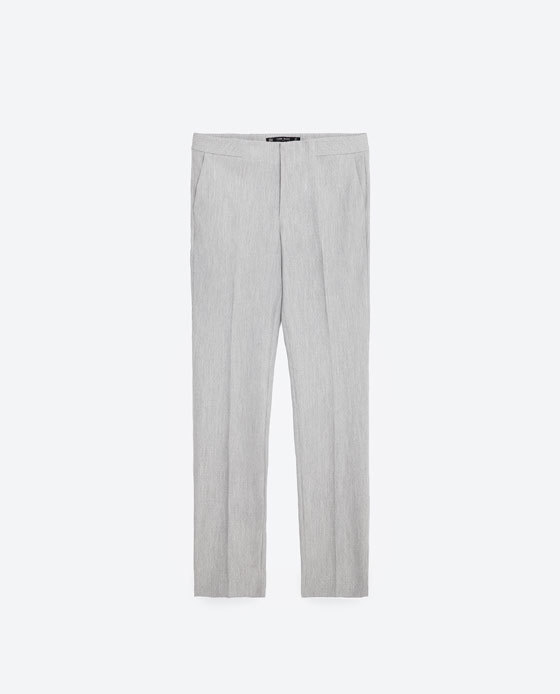 Chinos - pattern: plain; waist: mid/regular rise; predominant colour: light grey; occasions: casual, creative work; length: ankle length; fibres: polyester/polyamide - stretch; fit: straight leg; pattern type: fabric; texture group: woven light midweight; style: standard; season: s/s 2016; wardrobe: basic