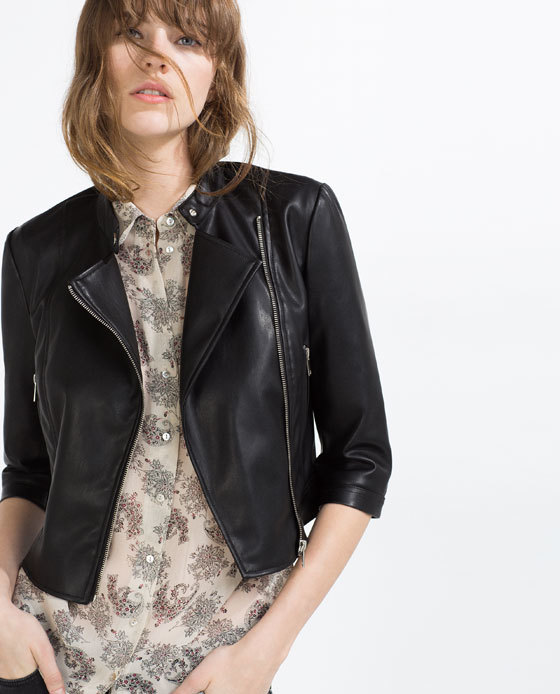 Faux Leather Jacket - pattern: plain; style: biker; collar: asymmetric biker; predominant colour: black; occasions: casual, creative work; length: standard; fit: tailored/fitted; fibres: leather - 100%; sleeve length: 3/4 length; sleeve style: standard; texture group: leather; collar break: low/open; pattern type: fabric; season: s/s 2016; wardrobe: basic
