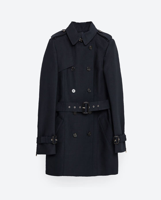 Cotton Trench Coat - pattern: plain; style: trench coat; length: mid thigh; predominant colour: navy; occasions: casual, creative work; fit: tailored/fitted; fibres: polyester/polyamide - mix; collar: shirt collar/peter pan/zip with opening; waist detail: belted waist/tie at waist/drawstring; sleeve length: long sleeve; sleeve style: standard; collar break: high; pattern type: fabric; texture group: woven light midweight; season: s/s 2016; wardrobe: basic